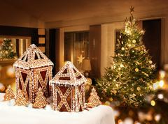 Gingerbread cookies jar christmas tree room Stock Photos