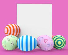 Stock Illustration of easter eggs indicating blank space and tag