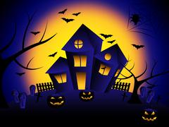 Haunted house showing trick or treat and happy halloween Stock Illustration