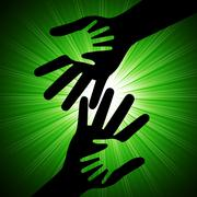 holding hands indicating ray family and sunrays - stock illustration