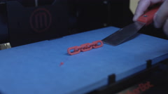 3D Printer Removing Printed Object 4K Stock Footage