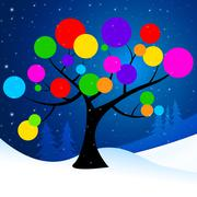 tree snow representing nature trunk and wintertime - stock illustration
