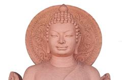 the sculpture of buddha made from stone - stock photo