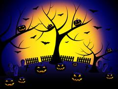 Halloween pumpkin showing trick or treat and tree trunk Stock Illustration