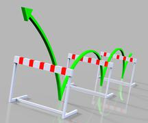 hurdle obstacle showing overcome obstacles and problems - stock illustration