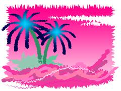 Stock Illustration of tropical island showing go on leave and palm tree
