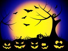 tree halloween meaning trick or treat and haunting ghost - stock illustration