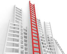 obstacle ladders indicating conquering adversity and step - stock illustration