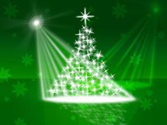 Stock Illustration of xmas tree indicating beam of light and lightsbeams of light