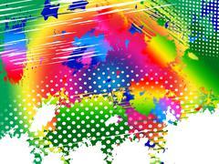 Tilkka väri osoittaa maalaa värit ja läiske Piirros