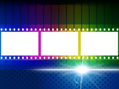 Glow color representing light burst and film-roll Stock Illustration