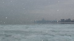 Freezing lake michigan in chicago and animated snow Stock Footage