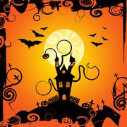 haunted house representing trick or treat and happy halloween - stock illustration