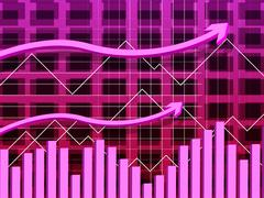 Line graph indicating up graphic and upward Stock Illustration