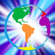 Stock Illustration of world globe meaning globalize multicoloured and globally