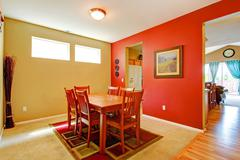 bright contrast dining room interior - stock photo