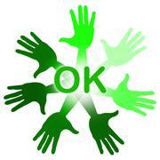 Hands ok indicating o.k. affirmation and alright Stock Illustration