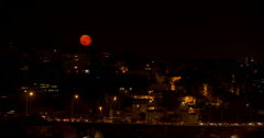 Red Moon in City Stock Footage