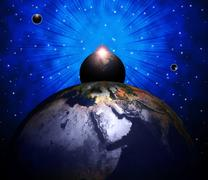 planets world indicating solar system and globalise - stock illustration