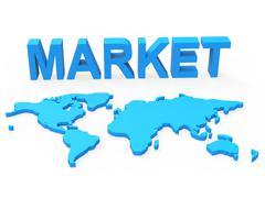 market world showing globalisation commerce and worldwide - stock illustration