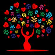 Handprints heart representing valentine's day and trunk Stock Illustration