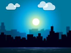 Stock Illustration of evening city representing night time and metropolis
