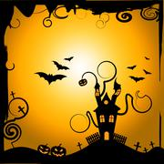 haunted house indicating trick or treat and happy halloween - stock illustration