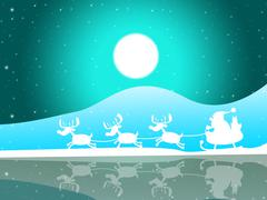Santa xmas showing new year and lunar Stock Illustration