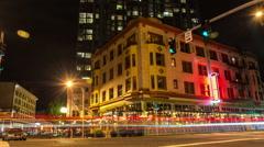 City Street Night TIme Lapse Stock Footage
