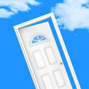 Stock Illustration of door house indicating desire wishes and household