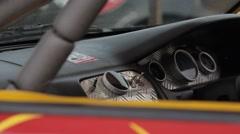 Racing car cabin, close-up shot Stock Footage
