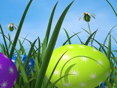 Egg hunt showing green grass and grassland Stock Illustration