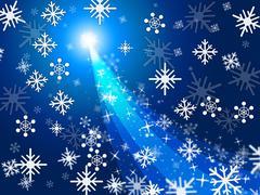 star blue showing merry xmas and glaring - stock illustration