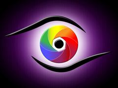 Eye aperture representing colour splash and optics Stock Illustration