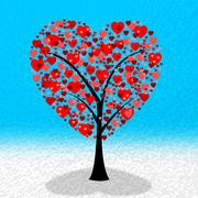 Tree hearts indicating valentines day and affection Stock Illustration
