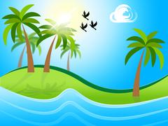 Tropical island representing flock of birds and flock of birds Stock Illustration