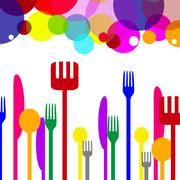 Cutlery knives meaning utensils spoon and silverware Stock Illustration