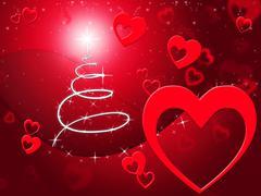 Xmas tree meaning valentine day and celebration Stock Illustration