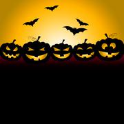 halloween bats meaning trick or treat and pumpkin patch - stock illustration