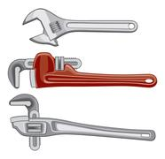 Adjustable Plumbing and Pipe Wrenches - stock illustration