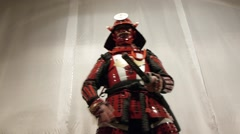 Samurai in action, front view Stock Footage