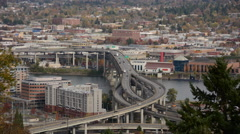 Portland Marquam Bridge Daytime Traffic TIme Lapse Stock Footage