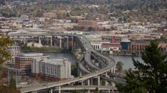 Portland Marquam Bridge Daytime Traffic TIme Lapse Stock Footage