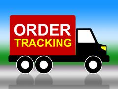 Order tracking meaning tracked logistic and vehicle Stock Illustration