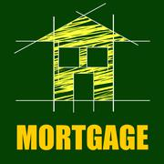 Mortgage house indicating home loan and repayments Piirros