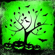 Tree pumpkin showing trick or treat and happy halloween Stock Illustration