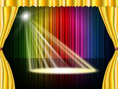 Stock Illustration of spotlight stage indicating live event and illumination