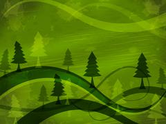 Stock Illustration of tree background showing reforestation branch and meadow