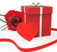 Stock Illustration of gift card indicating heart shapes and romantic