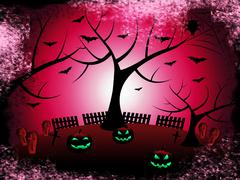 Tree pumpkin indicating trick or treat and halloween icons Stock Illustration